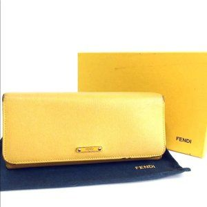 Auth Fendi Leather Yellow Long Wallet #N233O88